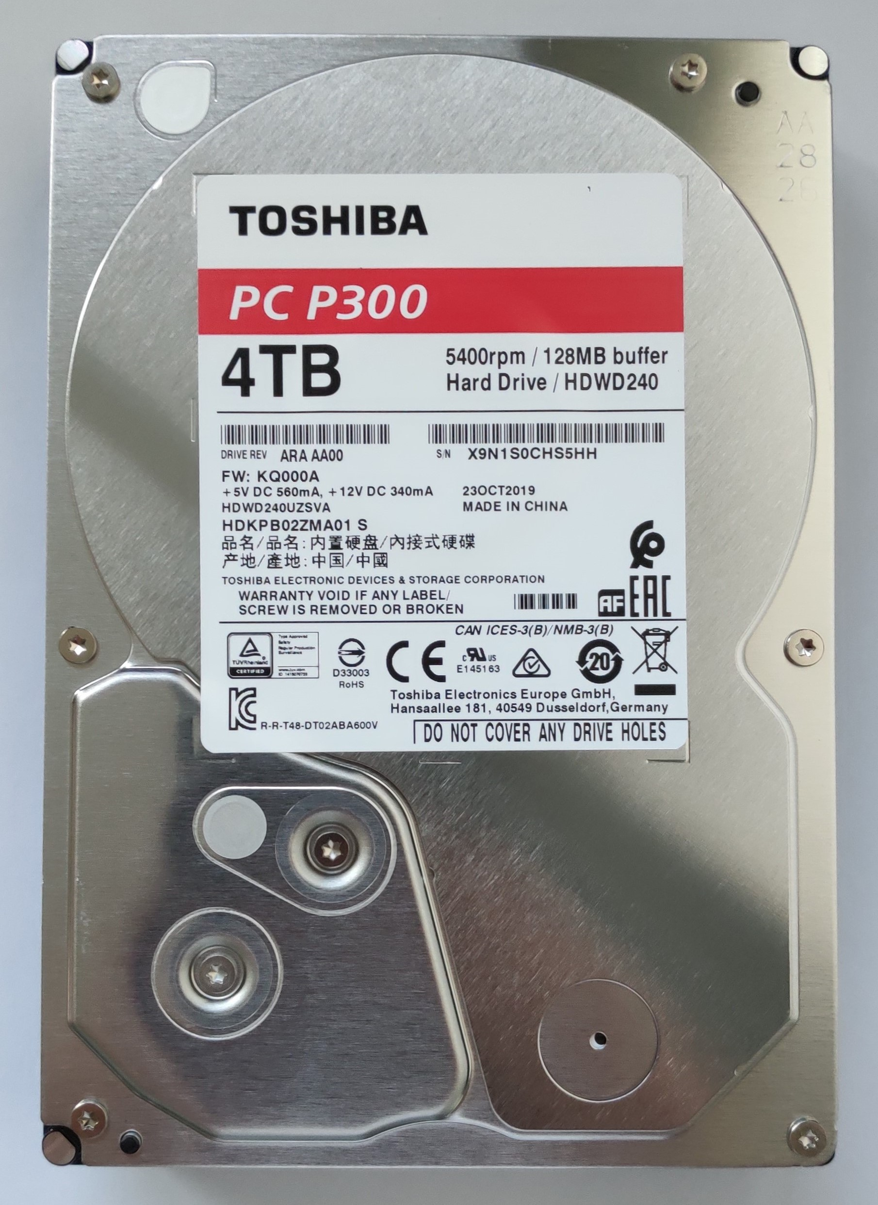 hdd p300 4to vue dessus